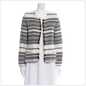 Iro Zlata Black And White Raw Edge Jacket Size 8